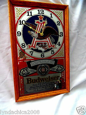 Vintage 1970's BUDWEISER MIRROR CLOCK Sign Anheuser-Busch Inc. (22 x 14 INCHES)