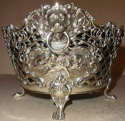 Rare Antique German 800 Silver Centerpiece Basket Cherub Putti Angel Lion Handle