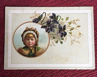 Lion Coffee Victorial Vintage Trade Card Little Girl Woolson Spice Co.