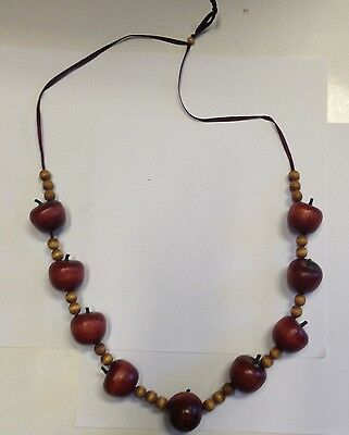 Fabulous Vintage Estate Find Large Red Apple Beads On Red Ribbon Necklace A6
