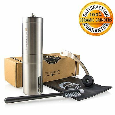 Manual Ceramic Burr Coffee Grinder with Hand Crank in Stainless Steel - High By