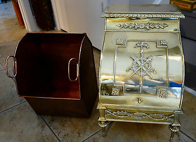 Antique french Victorian Brass & Wood Footed Fireplace Scuttle Coal Box Bucket