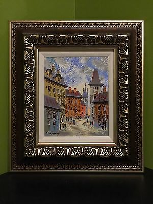 "Anatole Krasnyansky ""prague"" Signed Serigraph In Color On Canvas With Coa Framed"