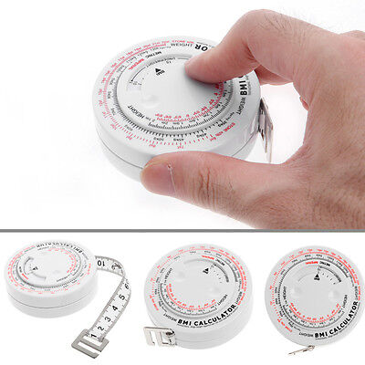 BMI Body Mass Index Retractable Tape 150 cm Measure Calculator Diet Weight Loss