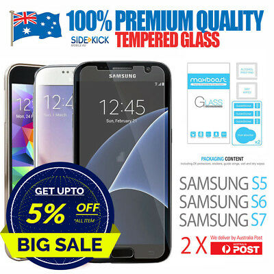 2 X Tempered Glass Film 9H Screen Protector for Genuine Samsung GALAXY S5 S6 S7