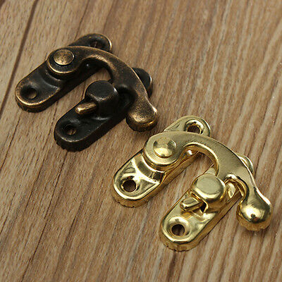 10Pcs Antique Metal Catch Curved Buckle-Horn Lock Clasp Hook Jewelry Box Padlock