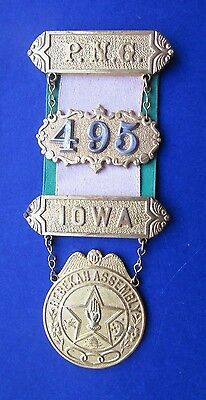IOOF Odd Fellows Rebekah Assembly Hanging Badge P.N.G. Iowa
