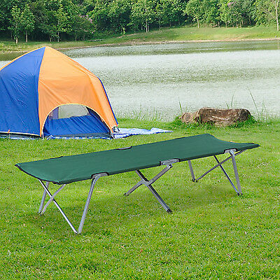 Outsunny Cot Bed Folding Camping w/Storage Bag Lightweight Portable Green 136kg
