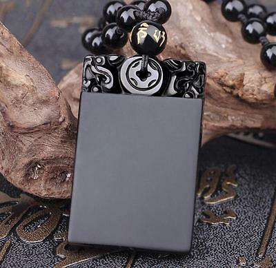 Natural Obsidian Black Jade Agate Dull Polish Pendant Lucky Nothing 平安无事 A21