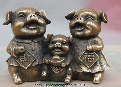 Chinese Bronze Copper Sculpture Fengshui Zodiac Wealth Yuanbao Three Pig Statue