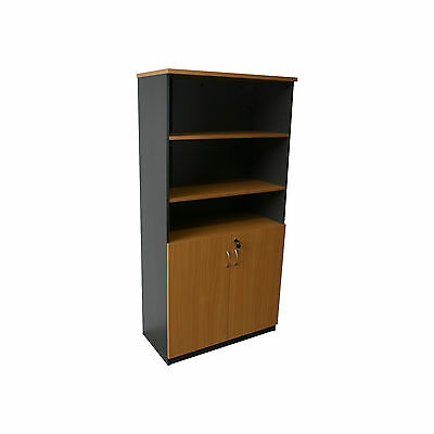 Office 1800H Half Door Storage Cupboard- Beech/Ironstone or Parchment