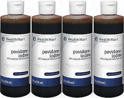 10% Povidone Iodine SOLUTION 8 oz HealthMart ( 4 pack ) PRIORITY SHIP!