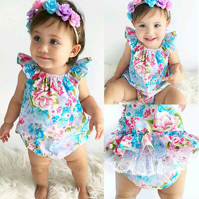 Newborn Baby Girl Lace Floral Romper Jumpsuit Bodysuit Outfits Sunsuit Clothes