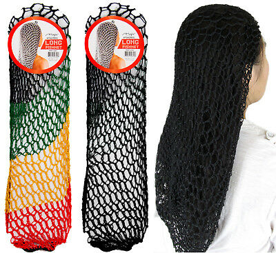Black Extra Long Soft Rayon Hair Net Hairnet Snood Large Crochet 21 inches Long