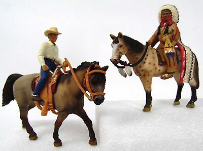 RARE RETIRE 2005 2008 Schleich Native American Chief and Roping Cowboy w/ Horses
