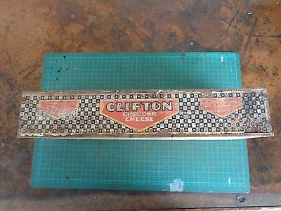 Vintage wooden packing box branded CLIFTON CHEESE, paper label