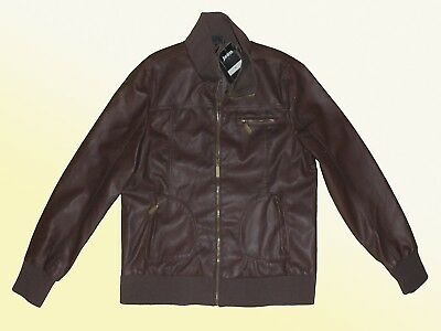 Brown Women's Jacket Imitation Leather Faux Between-Seasons Size 42-46 NEW