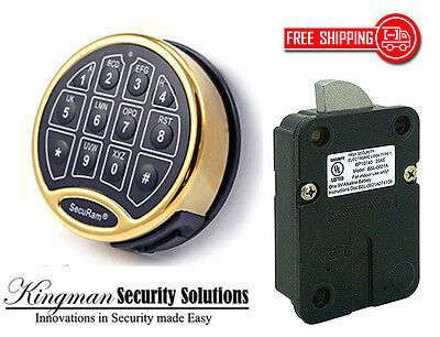 SecuRam Safelogic Basic II Lock & Keypad Kit - Swingbolt - Brass Finish