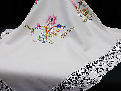 Vintage Irish Linen Tablecloth-Exquisite Hand Embroidered Jacobean-Lace Edge