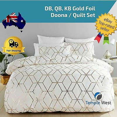 KING QUEEN DOUBLE BED White Gold Foil Duvet Cover BEDDING SET Doona Quilt