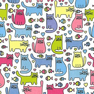 Printed Polyester Cotton Fabric - Cats Design - 7222