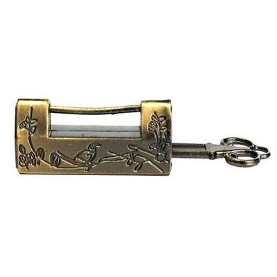 Vintage Retro Excellent Carved Magpie Bird Flower Leaf Padlock Lock & Key Gift ♫