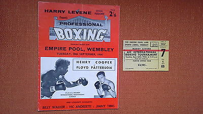 Rare Henry Cooper V Floyd Patterson 1966 On Site Boxing Programme + Ticket - Ali
