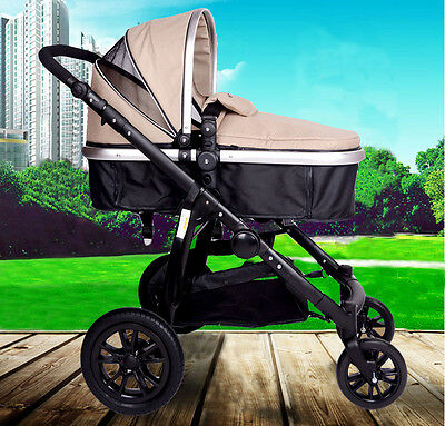 3 In 1 Baby Toddler Pram Stroller Jogger Aluminium With Bassinet Kids Pushchair
