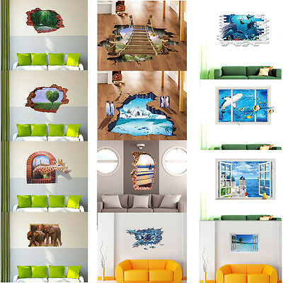 Ocean 3D Wall Floor Sticker Removable Vinyl Mural Art Decals Living Room Decor