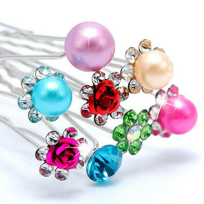 6 Pcs Lot Crystal Faux Pearl Flower Bridal Wedding  Prom Party Hair Pins Clip