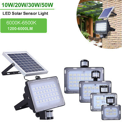 10W 20W 30W 50W 24-128 LEDs Solar Sensor Flood Light Ourdoor Security Lighting