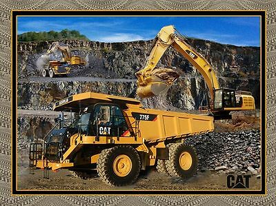 Excavation Cat Digger Panel Fabric (Large  Panel)