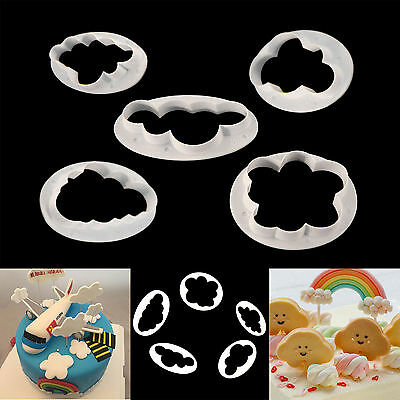 5x Fluffy Cloud Cookie Cutter Fondant Cake Decorating Mold Tool Sugarcraft Mould
