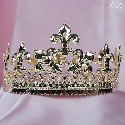 Men Round Tiara Gold King Emperor Crown Clear Rhinestone Pageant Party Costumes