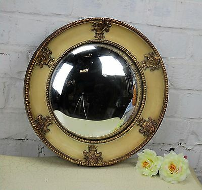 French Art Deco Round Mirror Wall Hanging Fleur de Lis Convex Glass France