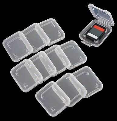 100 NEW Plastic transparent Clear Case For SD TF Card Box Protector