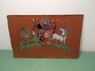 Antique Reverse Painted Glass Royal Coat Of Arms (Military?)