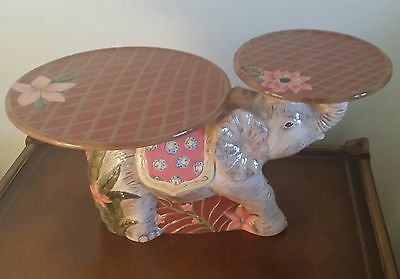 """Delightful Vintage Capriware Sahara Lucky Elephant Double Plant Stand 20"""" Long"""