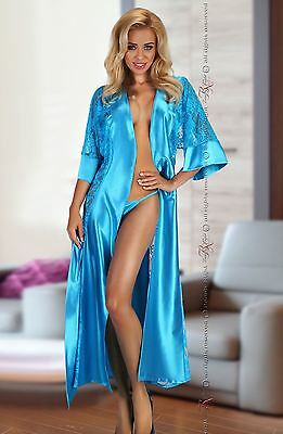 Turquoise Women's Dressing Gown with Lace and Matching Thong BN6433