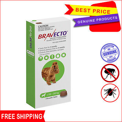 BRAVECTO for Dogs 1 Chew Green Pack 10 to 20 Kg Flea and Tick Control by Merck