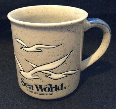 Vintage 1980 Sea World Coffee Tea Mug Embossed Seagulls Advertising Souvenir