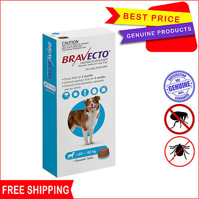 BRAVECTO for Dogs 1 Chew Blue Pack 20 to 40 Kg Flea and Tick Control by Merck