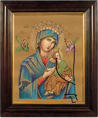 "MARY OUR LADY OF PERPETUAL HELP ICON - WOOD FRAMED PICTURE / PRINT 12""x10"""