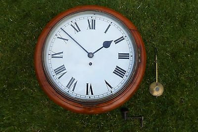 ANTIQUE EARLY 1900s MEDIUM OAK FUSEE STATION/SCHOOL CLOCK