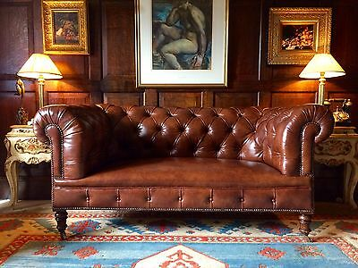 Stunning Howard & Sons Antique Chesterfield Sofa Settee Victorian 19th Century