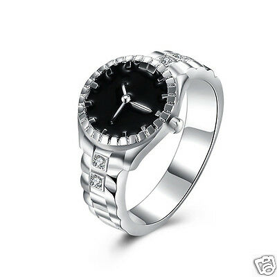 Ladies Girls Silver Plated Bling Dazzling Zircon Finger Ring Watch New