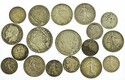 France, Silver Coin Collection, 18 Coins, 76.6 Grams, 1866-1934