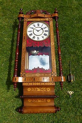 ANTIQUE DOUBLE SCROLLED WALNUT WITH INLAY AMERICAN MIRRORED WALL CLOCK 1880s/90s