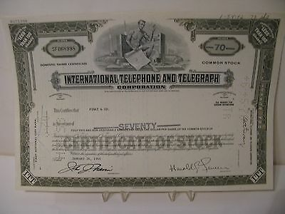 The International Telephone and Telegraph Shares of Stock 1968