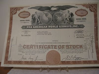 Pan American World Airways Stock Certificate-Cancelled
